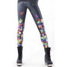 Lukis Damen Leggings Tattoo Print Leggins Strumpfhosen Tetris