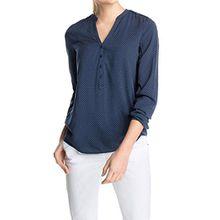 ESPRIT Damen Regular Fit Bluse 995EE1F901, Gr. 42, Blau (CINDER BLUE 406)