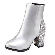 AIYOUMEI Damen Stiefeletten mit Glitzer und 8cm Absatz Blockabsatz High Heels Kurzschaft Stiefel