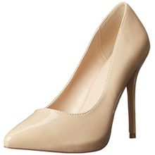Pleaser AMUSE-20, Damen Plateau Pumps, Beige (Cremefarben (Cream Pat)), 40 EU (7 UK)(10 US)
