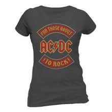 Beats & More Damen T-Shirt AC/DC - About to Rock Banner Fitted, 48 (Herstellergröße: XXL), Grau (Grau)