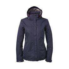 Killtec Damen Regenjacke Outdoor 100% Wasserdicht mit abzipbarer Kapuze, Farbe:Dunkelnavy, Größe:48