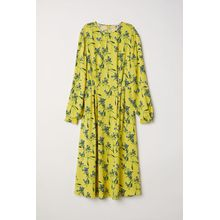 H & M - Gemustertes Kleid - Yellow - Damen