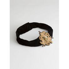 Embellished Velvet Belt - Black