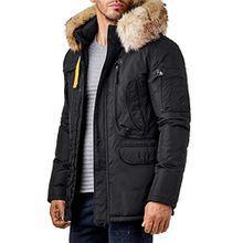 EightyFive Herren Winter-Jacke Mantel Fell-Kapuze Khaki Navy Beige Schwarz EF317, Größe:XL, Farbe:Schwarz