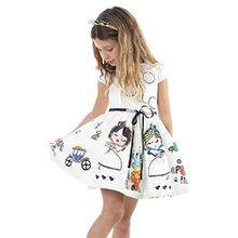 HUIHUI Kleid Mädchen, Toddler Mädchen Kleid Weiß Ärmellos Sommerkleid Party Prinzessin Dress Casual T-shirt Kleid Frühlings Herbst Cocktailkleid (120 (6-7Jahre), Weiß)