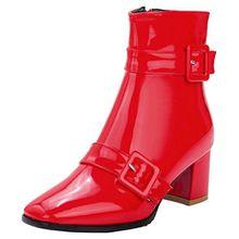 AIYOUMEI Damen Lack Stiefeletten mit Schnalle und 6cm Absatz Elegant Herbst Winter Kurzschaft Stiefel