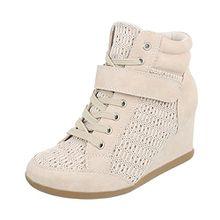 Ital-Design Keilstiefeletten Damen-Schuhe Plateau Keilabsatz/Wedge Keilabsatz Schnürsenkel Stiefeletten Beige, Gr 38, 876-Y-