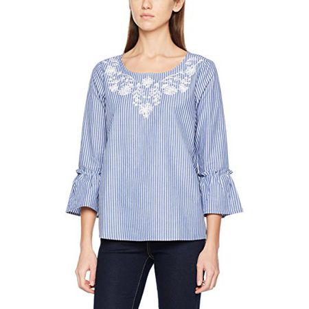 294b69235ae28 TOM TAILOR Damen Bluse Embroidery Stripe Blouse, Blau (Washed Out Blue  6791),