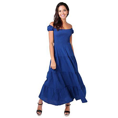 KRISP 9263-NVY-12 Damen Boho Maxi Kleid Einfarbig Bodenlang (Marineblau, Gr 16a6431e76