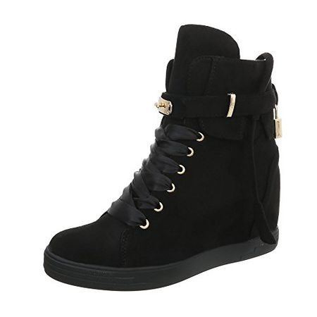 Ital-Design Sneakers High Damen-Schuhe Keilabsatz Wedge Keilabsatz  Schnürsenkel Freizeitschuhe Schwarz, 6514af73b1