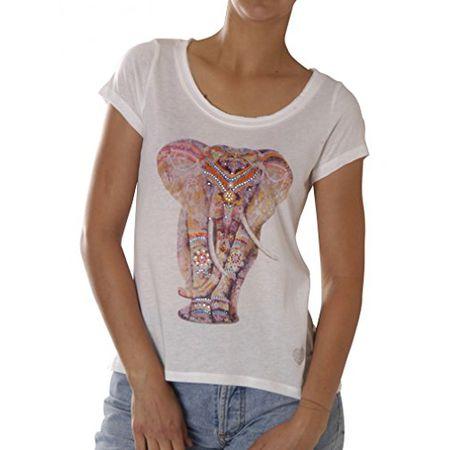 Key Largo Damen T-Shirt WT Elephant Round Weiss (10) M 1894f5b499