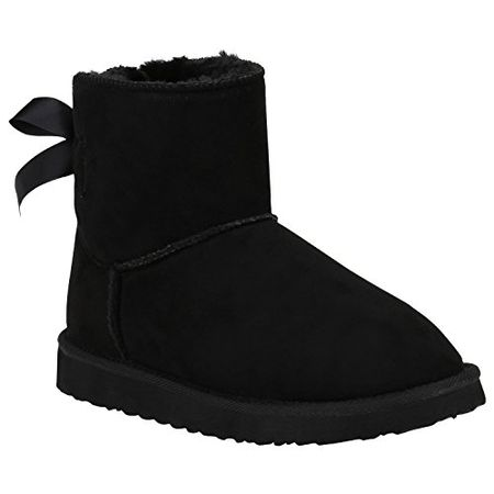 00e5b6792676d7 Damen Schuhe Schlupfstiefel Warm Gefütterte Stiefeletten Schleifen 152318  Schwarz Autol Schleifen 37 Flandell