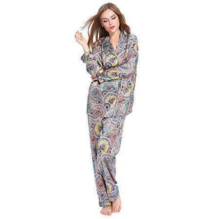 796d1812446950 Lilysilk Seide Pyjama Set mit Geometrisches Muster Seide Schlafanzug  Nachtwäsche Damen (M)