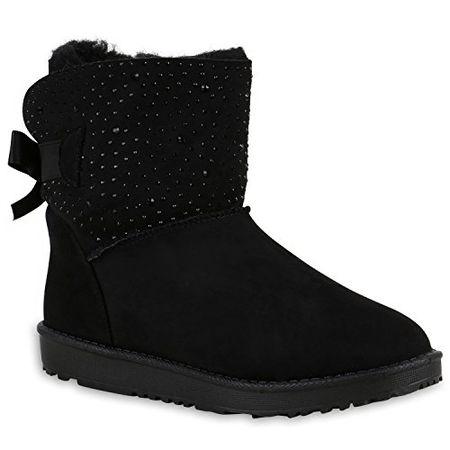 c4f80431ddef Stiefelparadies Warm Gefütterte Boots Damen Stiefeletten Schleifen  Kunstfell Schlupfstiefel Schlupfstiefeletten Schuhe 129161 Schwarz Schleife  38 Flandell