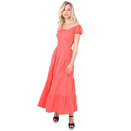 aa5eb9987497 KRISP 9263-COR-14 Damen Boho Maxi Kleid Einfarbig Bodenlang (Koralle, Gr.42)