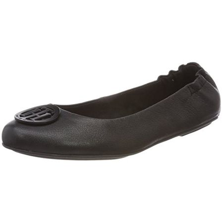 254253186b50 Tommy Hilfiger Damen Flexible Leather Ballerina Geschlossene Ballerinas,  Schwarz (Black 990), 41