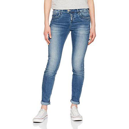 TOM TAILOR Damen Boyfriend Jeans Relaxed Tapered, Blau (Mid Stone Wash Denim  1052) a47f25a704