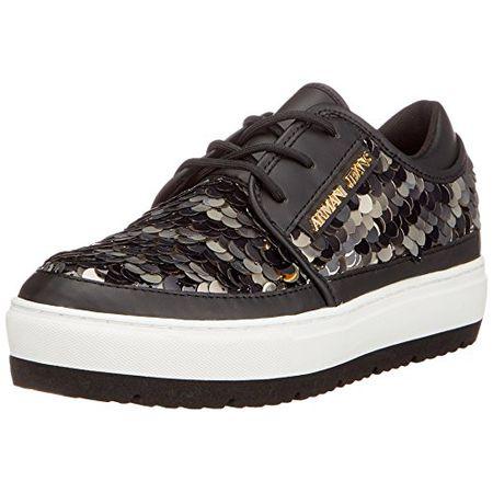 Armani Jeans Damen Sneaker Bassa, Schwarz (Nero), 41 EU c171cbc87a