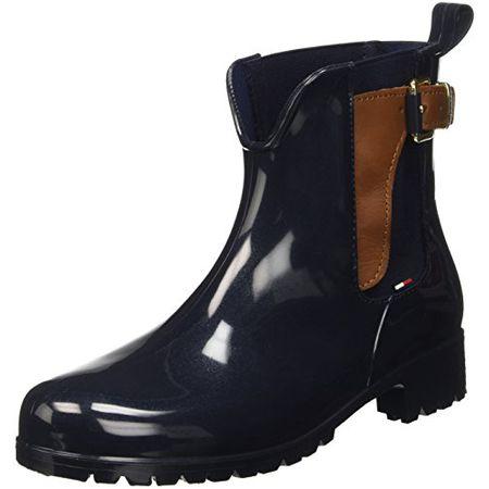 Damen Boots Silber Tommy Hilfiger Tommy Knit Shiny Rain Boot