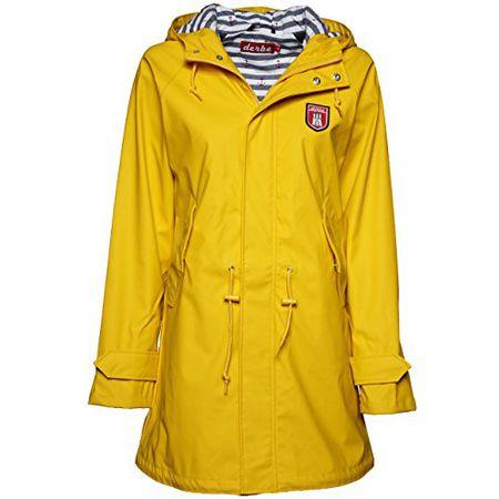 723f29466f98c8 Derbe Travel Friese Striped Damen Regenmantel, yellow/blue striped, Gr. 42