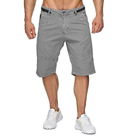 be96f993ab794f Max Men Herren Bermuda Shorts Capri 3/4 Hose Stretch H1930,Grau,W38