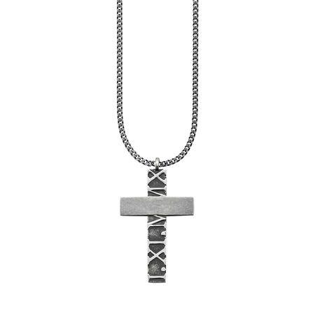 Cai Anhänger mit Kette 925 Sterling Silber matt oxidiert Kreuz Halsketten silber Herren