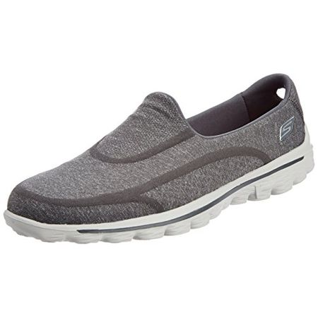 Skechers GO Walk 2 Super Sock Damen Walkingschuhe, Grau (CHAR), 39 EU