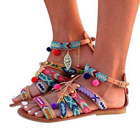 Meedot Frauen Flache Sandalen Damen Schuhe Boho Sommer Sandalette Outdoor Strand Schuhe Offene Sandalen 42