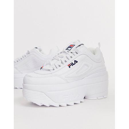 Fila – Disruptor II – Weiße Plateau Sneaker mit Keilabsatz