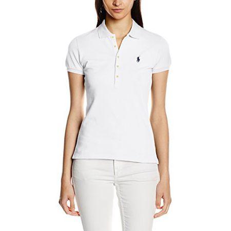 Ralph Lauren Damen Poloshirt Julie Polo SS KNT Stretch Mesh, Weiß, S