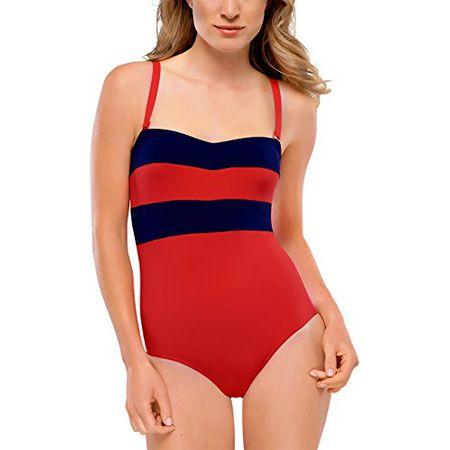 e1f90df7af89f7 Schiesser Damen Einteiler Badeanzug, Gr. 38 (Herstellergröße: 38C), Rot (