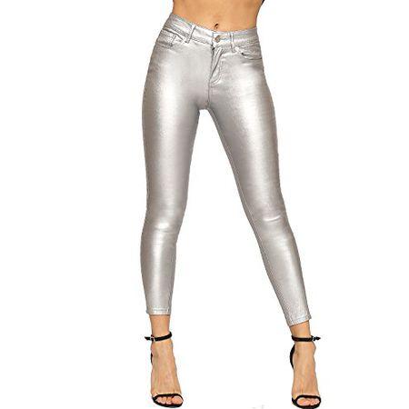 WEARALL Damen Dünn Bein Tasche Metallisch Beschichtet Hoch Tailliert Strecke Damen Jeans Silber 36
