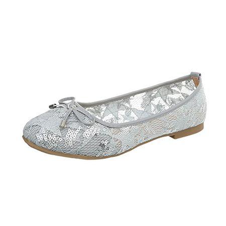 5a33b8a45715 Ital-Design Klassische Ballerinas Damen-Schuhe Blockabsatz Hellgrau, Gr 40,  K-