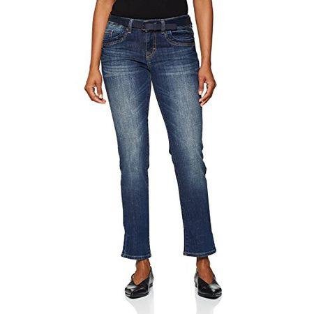 TOM TAILOR Damen Jeans Straight Alexa with Belt, Blau (Stone Blue Denim 1095), W30L34 (Herstellergröße: 30)