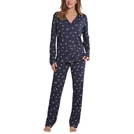 f506cb9b3a Schiesser Damen Zweiteiliger Schlafanzug Pyjama Lang, Grau (Graphit 207), 38