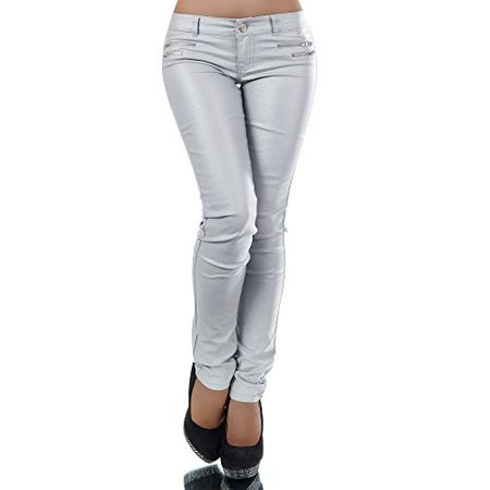 e83893dc93 L521 Damen Jeans Hose Hüfthose Damenjeans Hüftjeans Röhrenjeans  Leder-Optik, Farben:Grau;