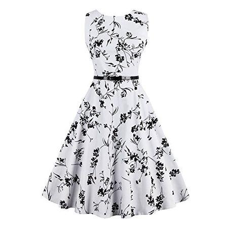 769988001eef74 iPretty elegant Damen Sommerkleid ärmellos mit Gürtel Faltenrockkleid Retro  Vintage Floral Party Cocktailkleider Abendkleider Knielang