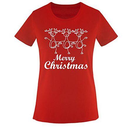TANZENDE RENTIERE - CHRISTMAS - Damen T-Shirt Rot   Weiss Gr. M 98f9b429dc