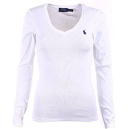 b4a3dd3d4b09ea Ralph Lauren Polo Damen Langarmshirt Longsleeve Shirt Weiß Größe L