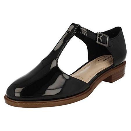 591182133f20f0 Clarks Damen Modern-Elegant Taylor Palm Beschichtetes Leder Halbschuhe  Größe 40