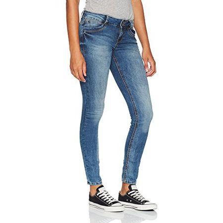 89a894302317 TOM TAILOR Denim Damen Skinny Jeans Jona 2 Button Authentic Blue, Blau (Mid  Stone