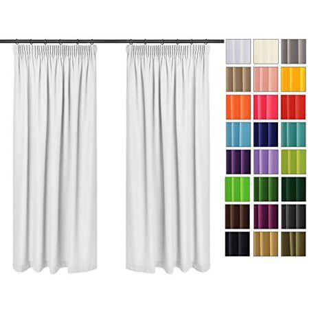 Einfarbig Blickdicht Vorhänge 2er Set Mit Universal Kräuselband Bleistift Weiß 1 135x260 Cm Bxh Lichtundurchlässig 2 Stück Vorhang Sonnen Und