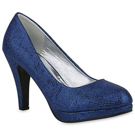 c2af55b18a79f Klassische Damen Schuhe Pumps Stiletto High Heels Glitzer Party 153504 Blau  39 Flandell