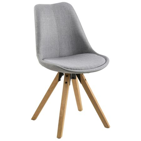 Carryhome Grau Webstoff Massiv Stuhl Kautschukholz 2HYWED9I