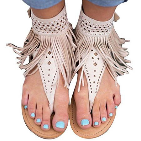 Hibote Damen Flat Zip Riemchen Sommer t Bar Quaste Flache Gladiator Boho Sandalen Schuhe Thong T Gurt Flip Flops