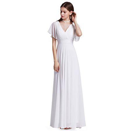 16c79952e64 Ever Pretty Damen V-Ausschnitt Lange Abendkleider Festkleider Größe 36 Weiß