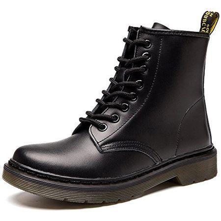 JACKSHIBO Damen Herren Klassischer Leder Knöchel Stiefel Boots Winter Warme  Gefüttert Stiefeletten Schneestiefel,No Samt 2cdc3f09f9