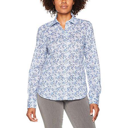 3b6200dde7567d eterna Damen Bluse Comfort Fit Langarm Blau Bedruckt mit Hemd-Kragen, Blau  (Blau
