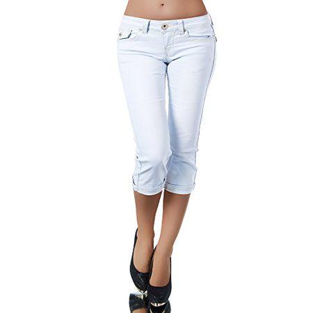 744280f576 K900 Damen Capri Jeans Hose Damenjeans Caprihose Caprijeans Bermuda Dicke  Naht, Farben:Hellblau;